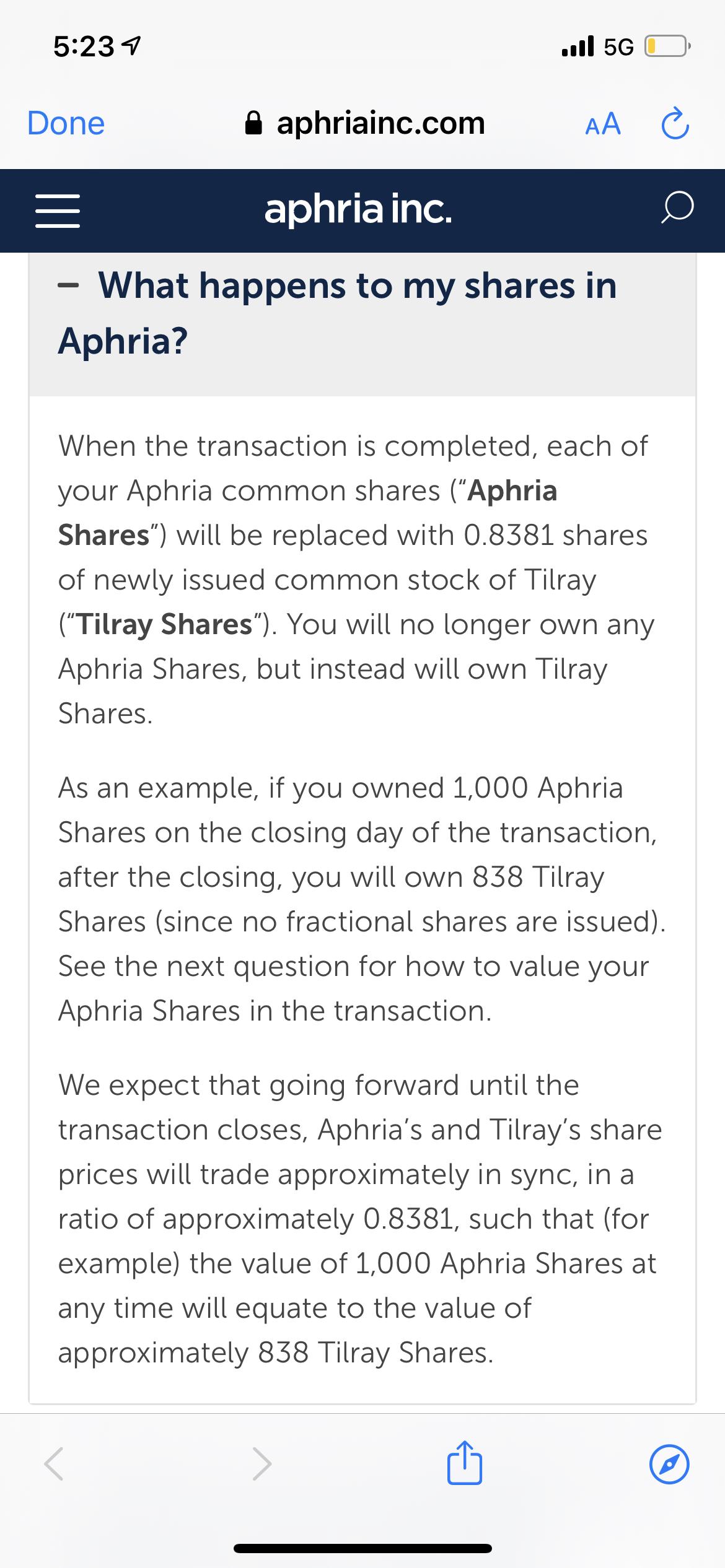 Aphria Inc-1